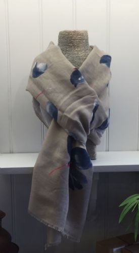 Flowers Print Scarf - Grey and Pale Khaki Green with Blue & White Flowers